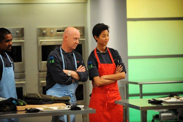 "Stefan Richter (left) and Kristen Kish on ""Top Chef."""