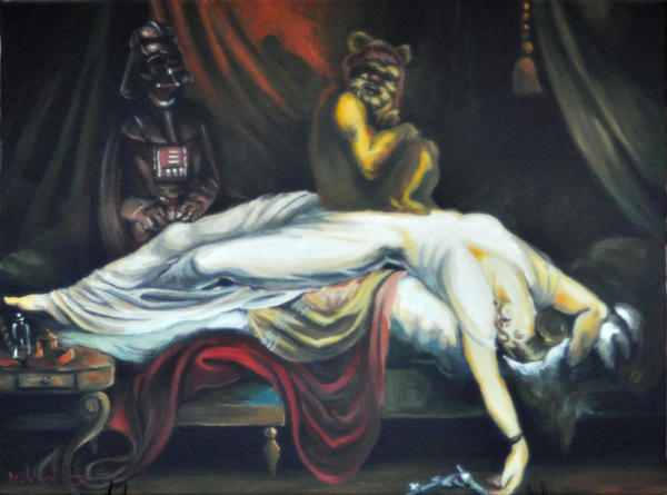 "Hillary White's 'The Night Invader,' a parody of Henry Fuseli iconic painting 'The Nightmare' except with 'Star Wars' characters, is part of the ""Nerdcore Fandom Art Show"" opening Friday night at the Ink and Pistons Tattoo Shop in West Palm Beach."