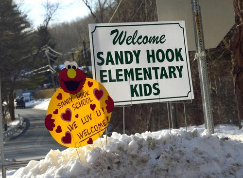 A sign welcomes children back to school in Monroe, Conn.