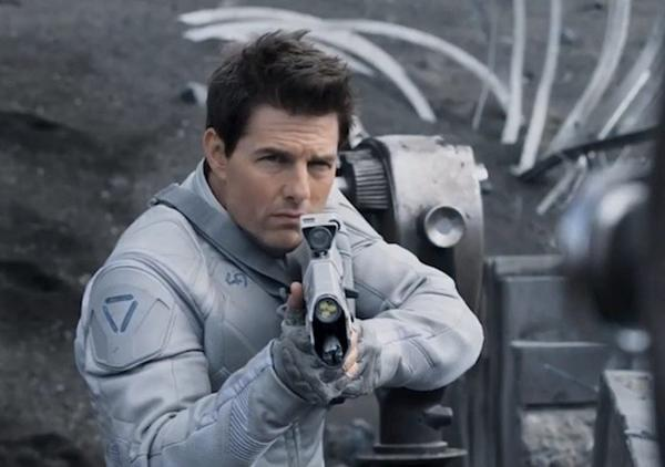 """One of the few remaining drone repairmen assigned to Earth, its surface devastated after decades of war with the alien Scavs, discovers a crashed spacecraft with contents that bring into question everything he believed about the war, and may even put the fate of mankind in his hands."" Stars Tom Cruise, Morgan Freeman and Andrea Riseborough"