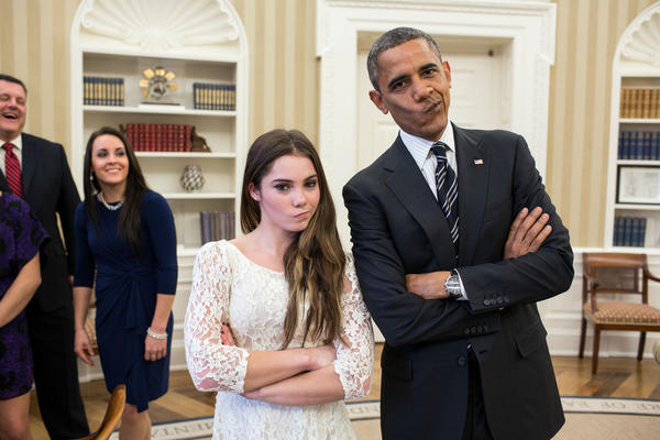 """The President had just met with the U.S. Olympics gymnastics team, who because of a previous commitment had missed the ceremony earlier in the year with the entire U.S. Olympic team. The President suggested to McKayla Maroney that they recreate her 'not impressed' photograph before they departed,"" White House photographer Pete Souza said."
