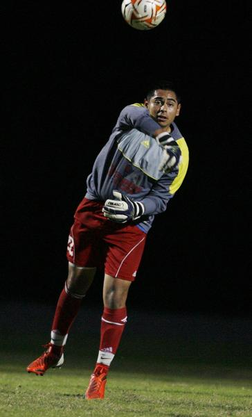 Freedom High keeper Alex Roa throws the ball during the Freedom High at Ocoee High School boys soccer game on Wednesday, January 2, 2013.
