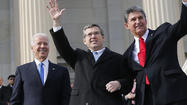 Keeping a pledge he made last spring, Sen. Mark Kirk climbed the Capitol steps on Thursday to mark his return almost a year after suffering a major stroke.