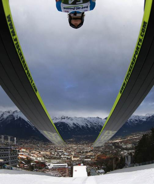 Norway's Tom Hilde takes off from the ski jump during the first practice session for the third jumping of the 61st four-hills ski jumping tournament in Innsbruck, January 3, 2013.