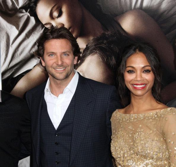 Actor Bradley Cooper (L) and actress Zoe Saldana attend the Premiere Of CBS Films' 'The Words' at the ArcLight Cinemas on September 4, 2012 in Hollywood, California.