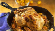 Roast chicken with kumquats