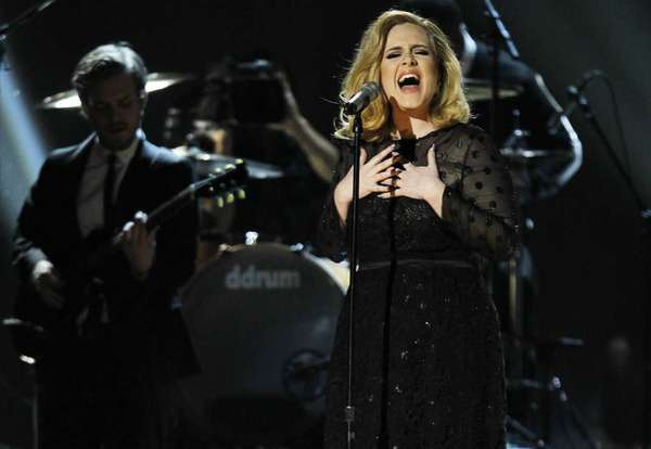 Adele performs at the 2012 Grammy Awards.