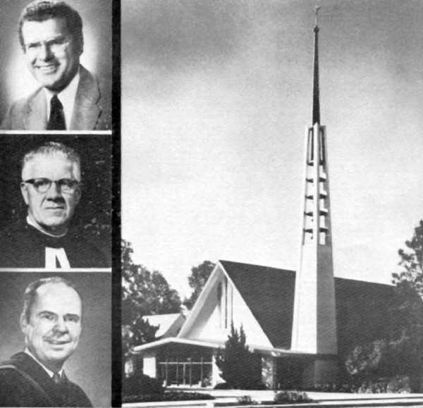 Members of La Cañada Presbyterian Church in January 1973 were planning events to mark the church's silver anniversary. From top to bottom at left of the photo of the church are three early leaders: Rev. Gary Demarest, who served the church from 1965 to 1988; Rev. Andrew McCormick, pastor from 1957 to 1964; and Rev. Hugh Burcham, a central figure in the formative years of the church, 1948 to 1957.