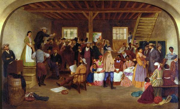"Slave Auction, Virginia, by Lefevre James Cranstone, 1860–63. Richmond, Virginia, was second only to New Orleans as a slave-trading center. In the three decades before the Civil War, more than 300,000 slaves left Virginia through sale. Based on his travels in the state between September 1859 and June 1860, English artist Lefevre James Cranstone completed his impression of a slave auction in 1862. Cranstone's rendering of the auction house interior highlights the commercial base upon which the institution rested. Virginia novelist George Tucker wrote that ""One not accustomed to this spectacle, is extremely shocked to see beings, of the same species with himself, set up for sale to the highest bidder, like horses or cattle."" The overwhelming need for black labor lessened the fre"