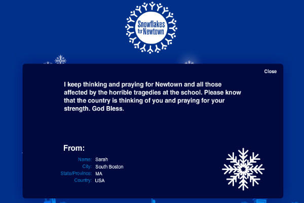 A user's greeting for the Newtown community on Punch Robinson and Kurt Dommermuth's snowflakesfornewtown.com.