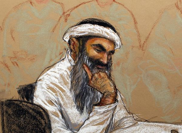 Accused Sept. 11 mastermind Khalid Shaikh Mohammed, seen in a courtroom sketch at his military commission hearing in Guantanamo Bay, Cuba.