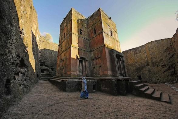 A church carved from rock in Lalibela, one of the stops on the Ethiopia tour led by author Patricia Schultz.