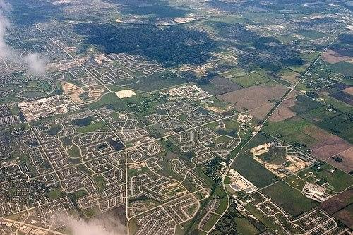 Chicago Suburbs from air