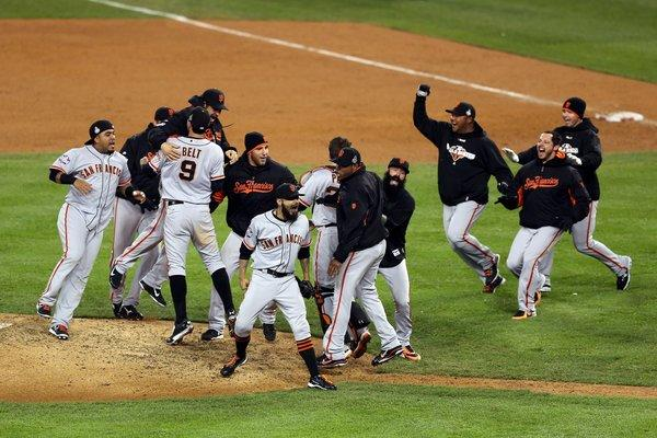 Members of the San Francisco Giants celebrate after clinching their second World Series title in three years back in October.