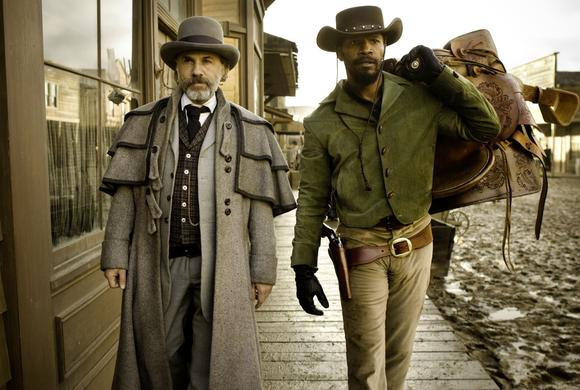 "Christoph Waltz as Schultz and Jamie Foxx as Django in ""Django Unchained."""