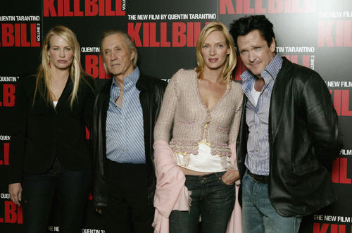 Daryl Hannah, David Carradine, Uma Thurman and Michael Madsen attend a press conference for the second installment of Kill Bill.