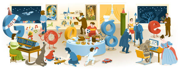 "Google's <a href=""http://www.google.com/doodles/new-years-eve-2012"" target=""_blank"">last doodle of the year</a> linked out to all of the previous ones from earlier in 2012."
