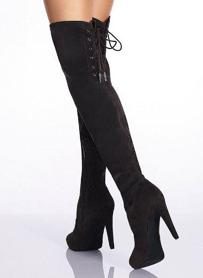 "The over- the-knee boot from <a href=""http://www.victoriassecret.com/shoes/all-boots/over-the-knee-boot-colin-stuart?ProductID=65111&CatalogueType=OLS"">Victoria's Secret with lace-up back</a> for $69."