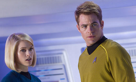 'Star Trek Into Darkness': Carol Marcus (Alice Eve) and Kirk on bridge of USS Enterprise.