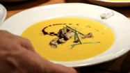 Chilled yellow squash soup with fresh dill