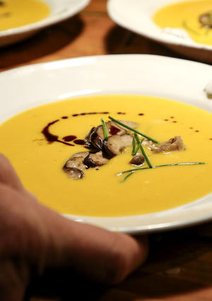 "Chilled yellow squash soup with fresh dill. <a href=""http://www.latimes.com/features/food/la-fo-tablereca-20100715,0,3920634.story"">Recipe</a>."