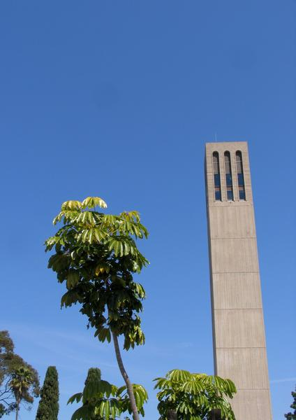 Storke Tower, a 175-foot campanile on the Isla Vista campus of UC Santa Barbara, is famous for its 61-bell carillon, which can sometimes be heard from the plaza below.