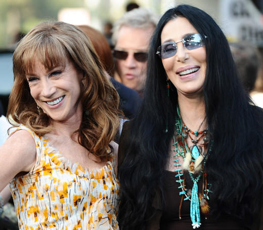 Kathy Griffin is being brought up off the D-List on the coattails of Cher. Kathy likes to brag about having slumber parties with the icon, and eating pizza in bed together. In fact, KG is so enamored with Cher, she focuses a large part of her comedy act on reliving their girl time. The twosome recently teamed up to fight Mitt Romney's presidential chances. Looks like they're a force to be reckoned with.
