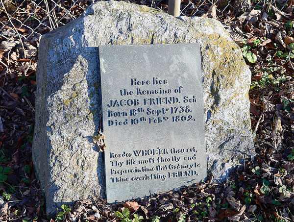 This marker replaced the tombstone of Jacob Friend. The original tombstone is damaged and is in the basement of the Washington County Historical Society's Miller House.