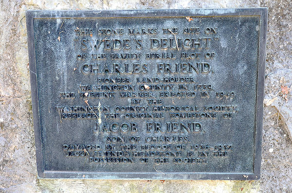 The Washington County Historical Society placed this monument marker to mark the site of the family burial plot of Charles Friend.