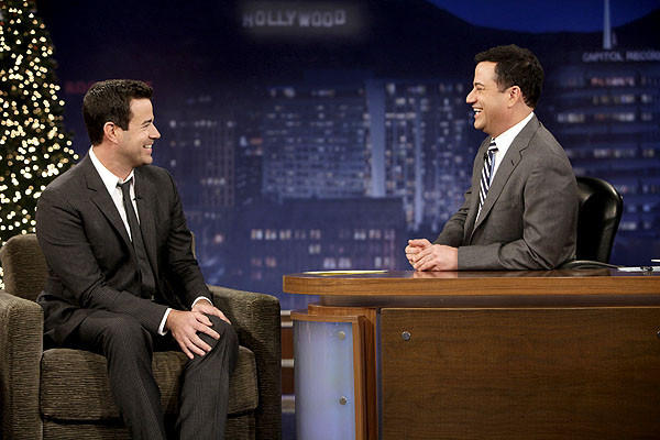 "In January 2003, Kimmel left ""The Man Show"" to host his own late-night talk show, ""Jimmy Kimmel Live!"" on ABC. He's pictured with his former assistant/intern, Carson Daly."