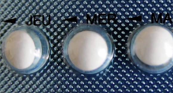 An illustration picture shows a blister-pack of birth control pills in Nice