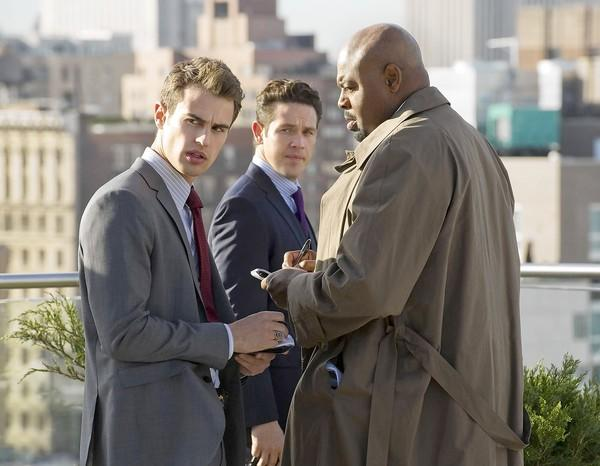"Theo James, left, Kevin Alejandro and Chi McBride in ""Golden Boy"" on CBS."