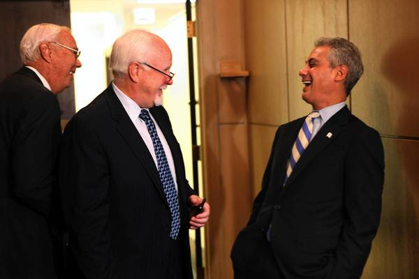Aldermen Richard Mell, 33rd, left, and Patrick O'Connor, 40th, have a laugh with Mayor Rahm Emanuel before he presents his budget to the City Council.