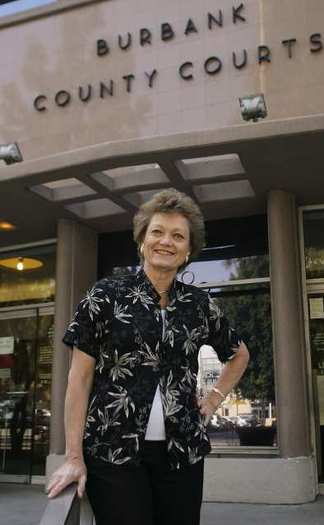 Nadine Hays in front of the Los Angeles County Superior Courthouse in Burbank in 2008.
