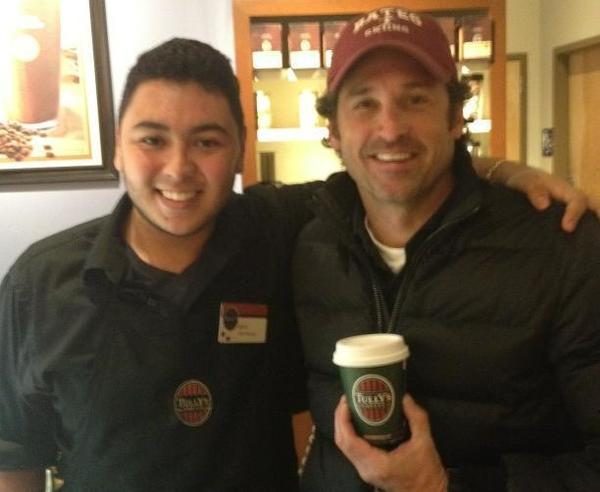 Actor Patrick Dempsey, right, tweeted a photo of himself and a worker at a Seattle Tully's Coffee location.