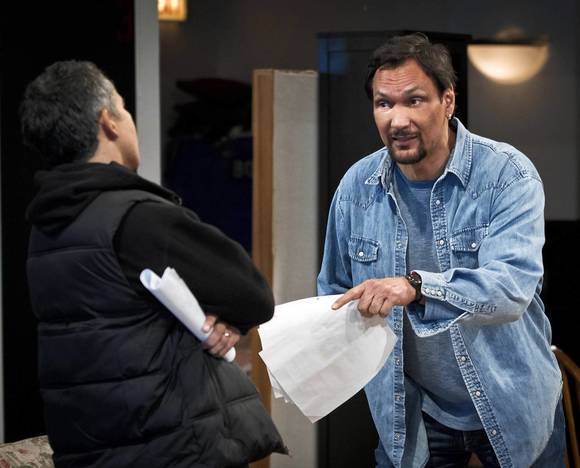 "Jimmy Smits in rehearsals for Steppenwolf Theatre's production of ""Motherf***er with the Hat."""
