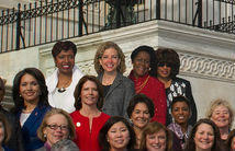 Four members of Congress in top row were added to the official photo of the Democratic women of the 113th Congress by the office of House Minority Leader Nancy Pelosi