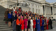 Photo from Minority Leader Nancy Pelosi's office showing women of the 113th House of Representatives. Latecomers in the top row, including U.S. Rep. Debbie Wasserman Schultz of Weston, weren't present but were added later.