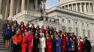News photographer's version of House Democratic women, showing that four were added later.