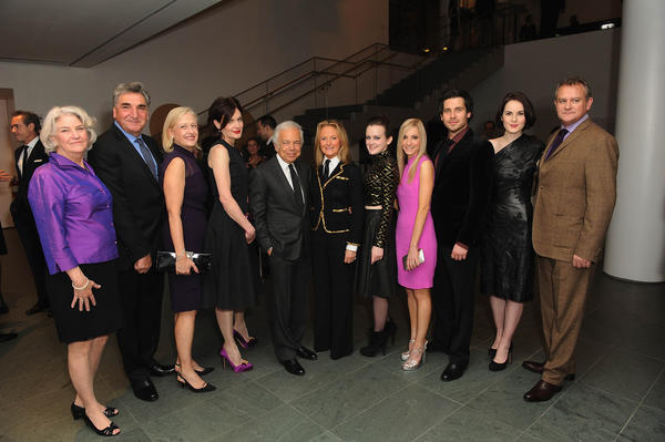 "The cast and crew of ""Downton Abbey"" pose with Ralph Lauren at an evening with the cast and producers of PBS Masterpiece series ""Downton Abbey"" hosted by Ralph Lauren & Graydon Carter  on December 10, 2012 in New York City."