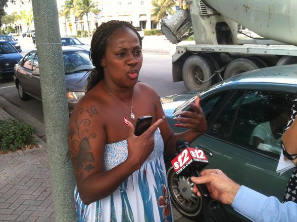 Decarla Balam, 37, outside of Delray Beach police station on Jan. 4, 2013. Balam, a cousin of murder victim Patrick R. Balam, was outraged that the person who drove murder suspect Timothy Walker from the crime scene has not been charged.