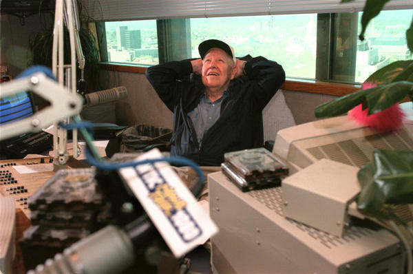 Hartford 5/1/99 Portrait of Bob Steele of Wethersfield, a longtime radio personality of WTIC 1080AM, during one of his last shows inside the Gold Building in Hartford on early Saturday morning. He's in his 80's and the station is moving to a suburb in few months. He only works the first Saturday of each month.