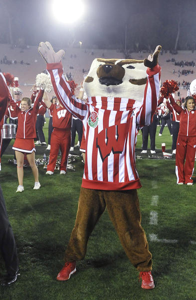The Wisconsin mascot Bucky Badger at the 99th Rose Bowl in Pasadena on Tuesday, January 1, 2013. Sanford beat Wisconsin 20-14 which was the third time in a row Wisconsin had lost the Rose Bowl, and Stanford ended a 40 year stretch since their last win.