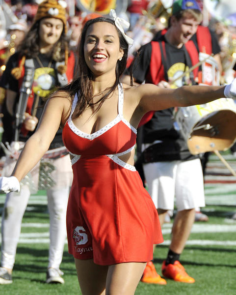 A Stanford cheerleader performs during the pre-game show at the 99th Rose Bowl in Pasadena on Tuesday, January 1, 2013. Sanford beat Wisconsin 20-14 which was the third time in a row Wisconsin had lost the Rose Bowl, and Stanford ended a 40 year stretch since their last win.