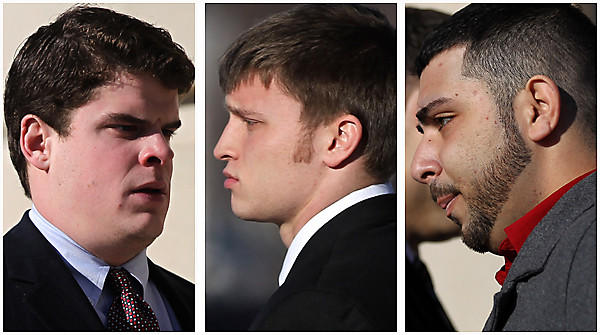 James Harvey, left, Steven Libert, center, and Omar Salameh, members of the Pi Kappa Alpha fraternity at Northern Illinois University, go to court.