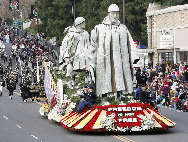 The Department of Defense float to recognize the 60th Anniversary of the Korean War Commemoration Committee at the 2013 Rose Parade in Pasadena on January 1, 2013. The $250,000 float was the first by the Defense Department and it won the National Trophy.