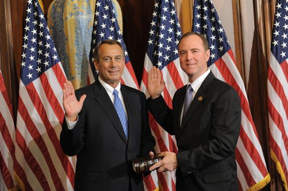 Rep. Adam Schiff, right, with House Speaker John Boehner.