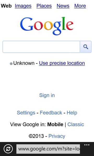 A screen shot of the page The Times got when trying to access the Google Maps website with a Windows Phone device.
