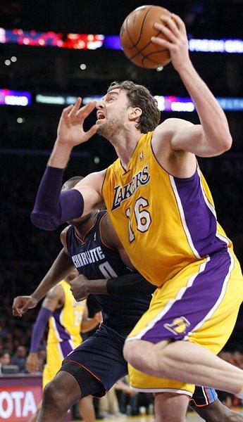 Pau Gasol drives to the basket against the Charlotte Bobcats on Dec. 18.