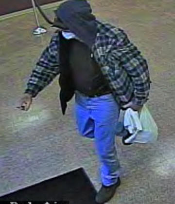 Maryland State Police say the man shown in the surveillance photo robbed the Sovereign Bank branch in Bel Air South on Friday morning, getting away with an undisclosed amount of U.S. currency. The robbery was the second at the bank in 18 days.